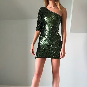 ModCloth green sequined one-shoulder minidress